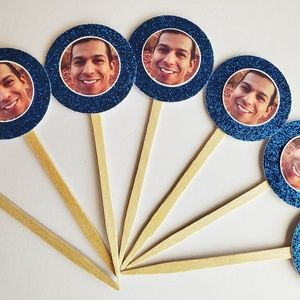24 personalized photo cupcake toppers decorations